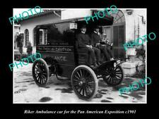 OLD POSTCARD SIZE PHOTO OF RIKER AMBULANCE CAR PAN AMERICAN EXPOSITION c1901