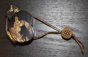 antique Japanese lacquer Fan shaped Inro signed Shigekata, Edo, 19th century.