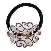 Womens Fashion Chain Jewelry Hollow Rose Flower Elastic Hair Band Headband Y