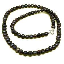 El Coral Collar Perlas Negras Botón 8mm, 62cm Longitud