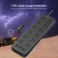 Heavy Duty Surge Protector Power Strip With 12 Outlets,5 ft Extension Cord,3 USB