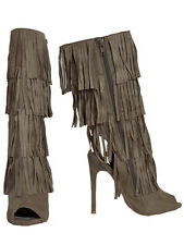 New Womens Open Toe & Back Fringe Heeled Boots Knee High Taupe Size 6.5