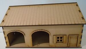 28mm Open fronted arch barn with attached shed Scenery bolt action laser c