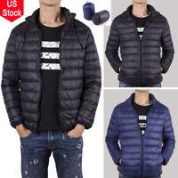 Men's Packable Down Coat Winter Thick Outerwear Jacket Warm Ultralight Overcoat
