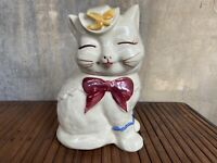 Vintage 1940's Shawnee Puss N Boots USA Cat Cookie Jar Cracked Cheek AS IS