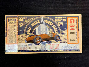1949 Indianapolis 500 Ticket Stub Indy 500 33rd 500 Mile Race