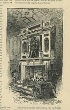 ANTIQUE FIREPLACE MANTLE  KING JAMES DRAWING ROOM BLACK TERRIER DOG SMALL PRINT