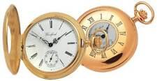 Reloj De Bolsillo Chapado En Oro Half Hunter Suizo 17 Joya Woodford-1015