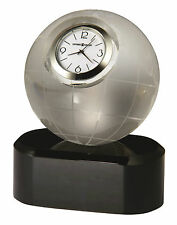 HOWARD MILLER MINIATURE  ETCHED GLOBE CRYSTAL CLOCK - THE AXIS