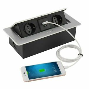 Tischsteckdose Einbausteckdose USB, Netzwerk Alu versenkbar Steckdosenleiste DHL