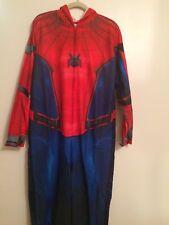 Adult Men Spiderman Jumpsuit W/ Hoodie Costume Pajamas Halloween  👻 Medium
