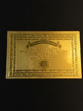 ONE Certificate for Zimbabwe 100 Trillion Dollar Banknote Gold Foil Bill(JUST 1)