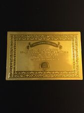 ONE Certificate for Zimbabwe 100 Trillion Dollar Banknote Gold Foil Note(JUST 1)