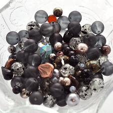 """STORMY NIGHT Glass Bead Soup Mix, brown, tan, black, grey 3"""" x 4"""" bag bgl0245"""