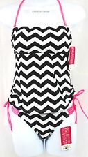 HULA HONEY Tankini & Bikini Bottom 2-PC Size XS  Black & White NWT $56