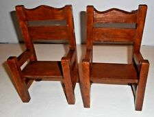 """Set of 2 Doll Bear Wood Arm Chairs High Back 8 1/2"""" Tall x 5 1/4"""" Wide Vtg. #H"""