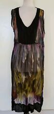 TS TAKING SHAPE Black/Purple/Green/Blue Print Tunic/Dress Size 14