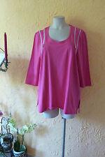 Q! Tunika Shirt 50 52 (4) NEU! fuchsia, 4 Reißverschlüsse, Stretch LAGENLOOK