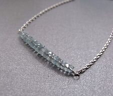 BLUE AQUAMARINE GRADE AA GEM BAR STERLING SILVER CHAIN NECKLACE - FREE POSTAGE