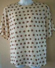 WOMEN'S PLUS SIZE 3X 24W LIGHT WEIGHT ROSE PRINT BLOUSE CLOTHING