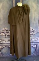 Floor Length Worsted Wool Wrap Cape w Sable Tail Accent M/L Mock Neck Winter