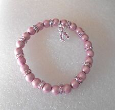 "Pink Miracle Bead Bracelet with Pink Ribbon Charm - Large Size 8""- Breast Cancer"