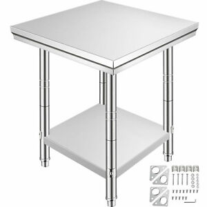 """2 Tier Kitchen Work Table Shelving For Food Restaurant Commercial 24"""" x 24"""""""