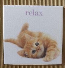 Dekofliese Decoupage Wandbild Bild Katze (005DP) Geschenkidee