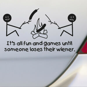 Funny Camping Window Door Car Sticker Car Truck Black PET Stickers Decal Decor