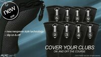 HYBRID HEAD COVERS COMPLETE 2 3 4 5 6 7 8 9 SET THICK GOLF CLUB BLACK HEADCOVER
