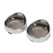 Visor Turn Signal Bezels Trim Ring Smoke Lens Fit For Harley Road Electra Glide