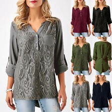 UK Womens Long Sleeve Lace Floral Chiffon T-Shirt Ladies Casual Tops Blouse 6-20