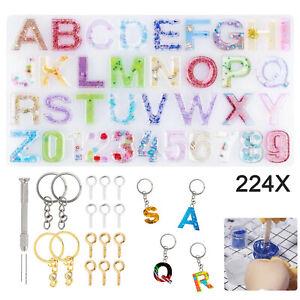224pcs DIY Letter Alphabet Number Mold Silicone Molds Resin Casting Keyring Set