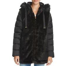 Via Spiga Womens Black Winter Puffer Faux Fur Coat Outerwear M BHFO 9853