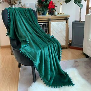 LOMAO Flannel Blanket with Pompom Fringe Lightweight Cozy Bed Blanket Soft Throw