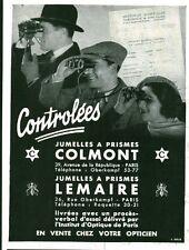 Publicité ancienne jumelles Colmont - Lemaire  1933