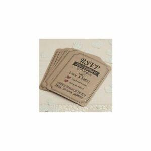 10 RSVP CARDS IN BROWN KRAFT - VINTAGE AFFAIR