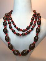 Vintage Millefiori Glass Necklace 1980s Graded Flapper Length Jewellery Jewelry