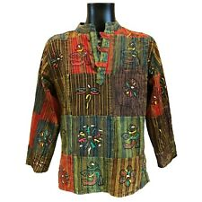 Hippy Casual Unisex GRANDAD SHIRT in Patchwork Painted Cotton, Om Symbol Painted