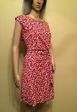 DVF Diane von Furstenberg Red Leaf Dance Small White New Della Dress 14 NWT $368