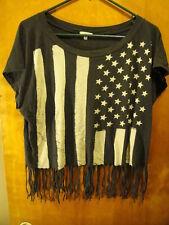 I LOVE H81 ~ Tassled US Flag Ladie's T Shirt LRG Black ROCK ~ GOTH ~ PUNK