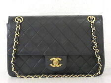 r5094 Auth Vintage CHANEL Black Quilted Lambskin Double Flap Chain Shoulder Bag