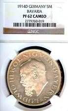 Allemand États Bavaria 1914 5 Mark Monnaie Thaler Taler NGC Pf 62 Camée Preuve
