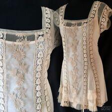 TOPSHOP Cream Antique Lace Crochet Vintage 20's Flapper Boho Mini Dress 8 36