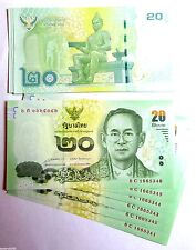 1 Thailand Thai 20 Baht Banknote Uncirculated 2013 Showing both sides Late King