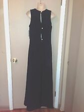 EVAN-PICONE BLACK LONG LADIES DRESS with GOLD TONE BUTTONS SIZE 6 NEW $158.