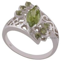 Solid 925 Sterling Silver Peridot Gemstone Cocktail Ring Jewelry R1653-8