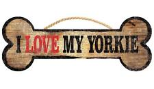 Pet Dog Sign - I Love My Yorkie [New] Bone Shape Wood Wall House Puppy Poster