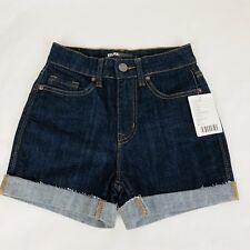 "BDG Size 28 Denim Shorts11"" High Rise Dark Jeans Frayed Cuff Basic Fit New WTag"
