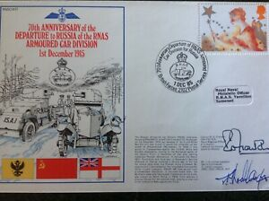 RNSC Cover HMS - RNAS Armoured Car Division Departs To Russia 1915 - Dual Signed